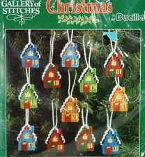Bucilla Kit Christmas Ornaments Plastic Canvas Houses Snowy Rooftops Sealed