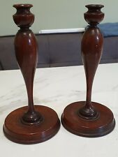 More details for antique pair of wood candle sticks