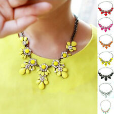 Pro Bib Necklace Jewelry Crystal Flower Statement Pendant Chunky Chain Choker