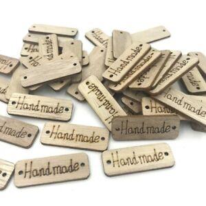 40X Holz Farbe Holz 'Hand gemacht' Schriftzug 2-Loch Nähen Scrapbooking 40mm