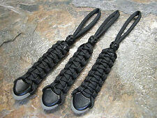 (3) BLACK PARACORD NO CORE KNIFE LANYARD PULL GLOWTIP SKULL