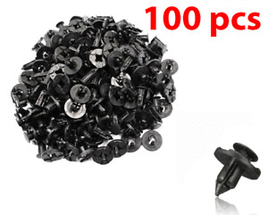 100pcs Bumper Clips 8mm Plastic Rivet Fastener Mud Flaps Fender Push for NISSAN