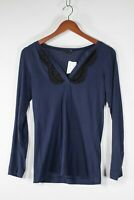 Theory Women's Size Small Navy Blue Tee T-Shirt V-Neck Lace Trim Long Sleeve Top