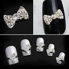 Crystal Rhinestone 3D Nail Art Bowknot Tie Bow Stickers Slice Manicure 10pcs