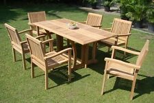 """Leveb A-Grade Teak 7 pc Dining 69"""" Console Table 6 Stacking Arm Chair Set New"""