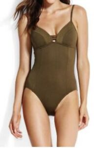 NWT  $138 US Sz 8 Seafolly Quilted One Piece Dark Olive
