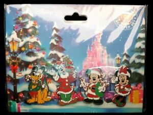 Disney Christmas Noel Booster Set of 4 Pins - Mickey & Minnie Mouse Pluto Goofy