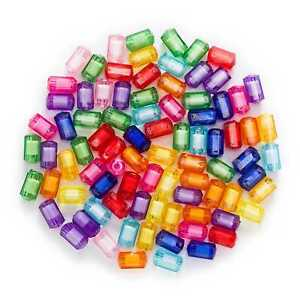 50 Pcs Random Mixed Acrylic Cylinder Spacer Beads Jewelry Making Findings 13x7mm