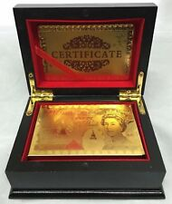 24K Karat 99.9% PURE GOLD PLATED £50 POUNDS Playing cards DECK WITH WOODEN BOX