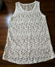 Hem and Thread sleeveless top blouse size Small lace Ivory