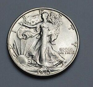 1943-S Liberty Walking Half Dollar - San Francisco Mint - Fine Silver US Coin LS