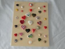 35 Vtg Colorful Heart Shaped Buttons Mother of Pearl Metal Glass Plastic Paris