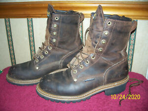 CAROLINA BOOTS BROWN LEATHER STEEL TOE LOGGER BOOTS WATERPROOF CA9821 SIZE 10 D