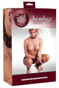 fetisch Collection  bondage Lederimitat Fessel-set Hals-, Hand- und Fuß fessel