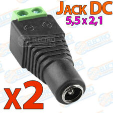 2x Adaptador DC Jack Hembra 5,5 x 2,1 alimentacion aereo tira led strip CCTV