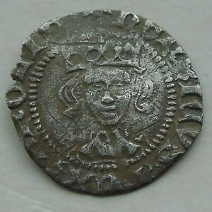 Hammered Silver Penny, Long Cross HENRY VI Annulets London, Nice Portrait S1844
