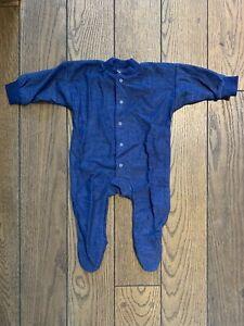 Cosilana Strampler / Overall / Schlafanzug mit Fuß aus Wolle (Wollfrottee)