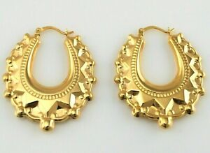 Large 9ct Yellow Gold Victorian Style Spiked Oval Creole Hoop Earrings