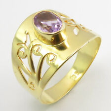 Amethyst Ring Sz 9 Fashion Gift 925 Solid Silver Yellow Gold Plated