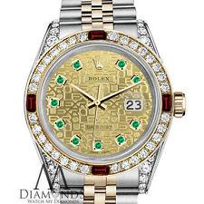 Women's Rolex SS & 18k 31mm Datejust 2 Tone Dial Ruby & Diamond Watch Bezel