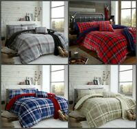 NEW LINCOLN CHECK TEDDY FLEECE SHERPA  DUVET COVER SET Or THROW BED SET ALL SIZE