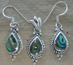 REAL 925 STERLING SILVER NZ Paua Shell ABALONE Earrings & Pendant SET WOMEN