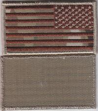 US FLAG Patch MIRROR IMAGE Desert Tan/MULTICAM with hook fastener backing