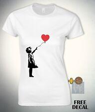 Banksy Balloon Girl T shirt Social Graffiti artist Fashion Novelt Womens Top