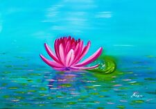 Water lily flower, modern pink lutos, blue wall art,abstract lutos oil painting