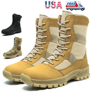 UNISEX ROUND TOE COMBAT MILITARY STYLE BOOT TAN BLACK LACES HIKING KID SIZE 11-4