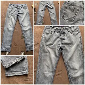 "George grey jeans w 36 inside leg 33"" button fly straight leg 100% cotton (68)"