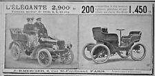 PUBLICITÉ DE PRESSE 1903 L'ÉLÉGANTE TONNEAU MOTEUR DE DION - ADVERTISING