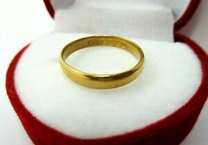 Antique 22ct 916 Solid Yellow Gold Wedding Band Ring B'ham 1928  Size L  2.5g