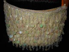 Vintage Purse Beads And Sequins Creme Zipper Closure Chain