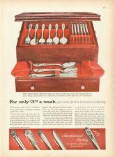 1955 International Sterling PRINT AD Silverware Monogram Chest 4 patterns detail