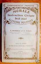 MORALE INSTRUCTION CIVIQUE DROIT USUEL ECONOMIE .. 1935