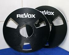 "2 X REVOX IN BLACK OR GOLD CARBON FIBER LOOK  METAL REEL TO REEL 10.5"" X 1/4"""