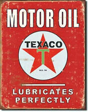 "Texaco ""Lubricates Perfectly "" Tin Metal Sign"