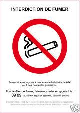 1 autocollant INTERDIT DE FUMER interdiction de fumer adhésif 10 x 14 cm