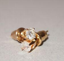 White Diamond .34 C Post Earrings 14K Yellow Gold 17 pt Round Stud Carat NICE!!!