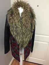 Gorgeous Women's River Island Red Tartan Check Fur Trim Faux Leather Coat UK 10