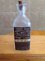 Vintage Medicine Hand Crafted Bottle, Professor Fenster's Snake Oil