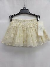 GUESS Toddler Girls Ruched Lace Skirt, Gold, 2T