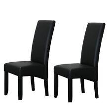 2 x chaises de salle à manger Thor dossier haut siège ess groupe Noir Similicuir