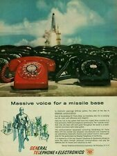 1961 General Telephone & Electronics Red Black Rotary Phones Missile Print Ad