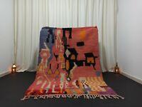 "Berber Vintage Boujad Moroccan Rug 4'6""x 5'3"" Feet Salmon Wool Area Handmade Rug"