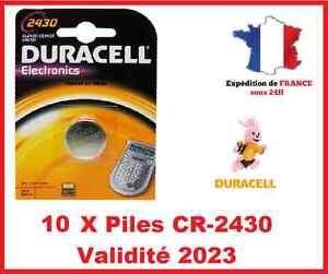 10 Piles CR-2430- DL-2430 DURACELL bouton Lithium 3V DLC 2025