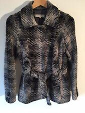 GERARD DAREL wool blend grey & black tweed belted jacket FR 38 / UK 10 VGC £325