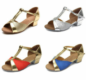 New ballroom heeled Salsa tango latin dance shoes children girls women kids size