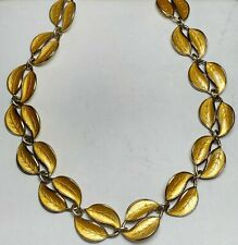 "ESTATE DAVID ANDERSEN VERMEIL YELLOW GUILLOCHE LEAF NECKLACE-15"" NORWAY-D-A 925"
